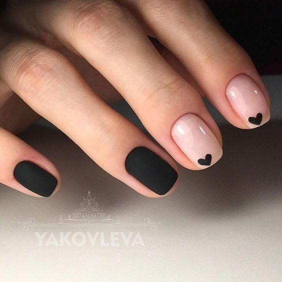 Матовый шеллак на короткие ногти дизайн 2018