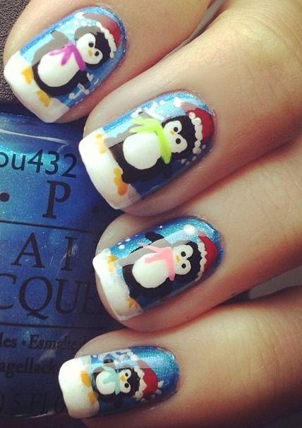 Маникюр с пингвинами (17)