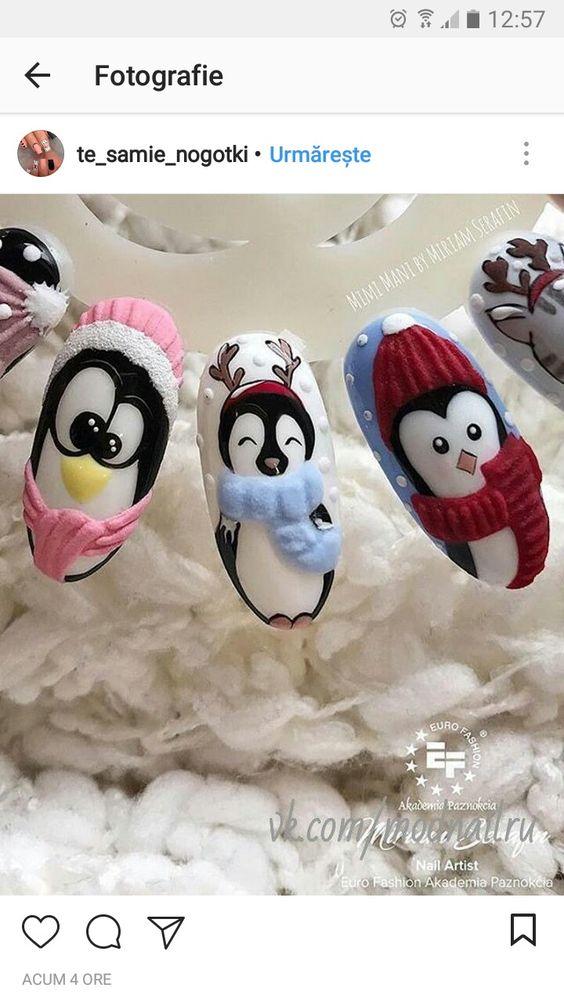 Маникюр с пингвинами (31)