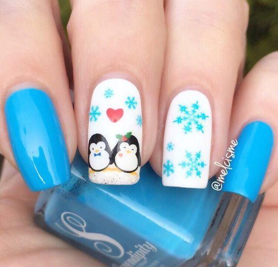 Маникюр с пингвинами (11)