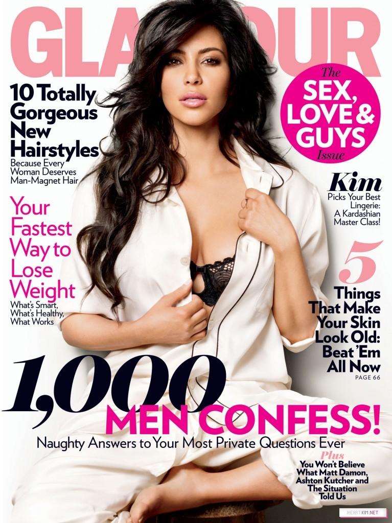 Ким Кардашян на обложке журнала Glamour (февраль 2011)
