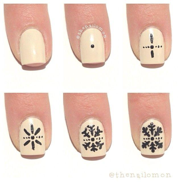 Дизайн ногтей рисуем снежинку