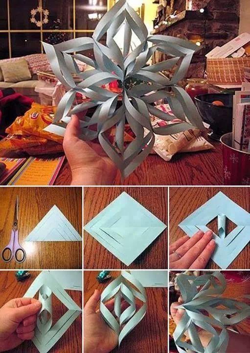 Объемные снежинки из бумаги, клея. Как сделать?