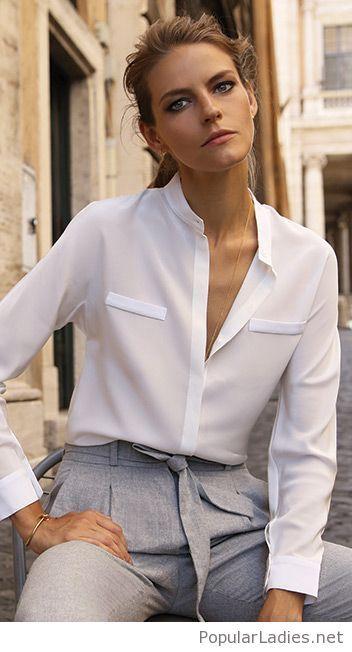 Белые блузки 2018-2019 (10)