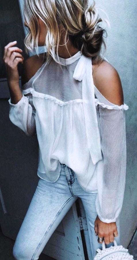 Белые блузки 2018-2019 (17)