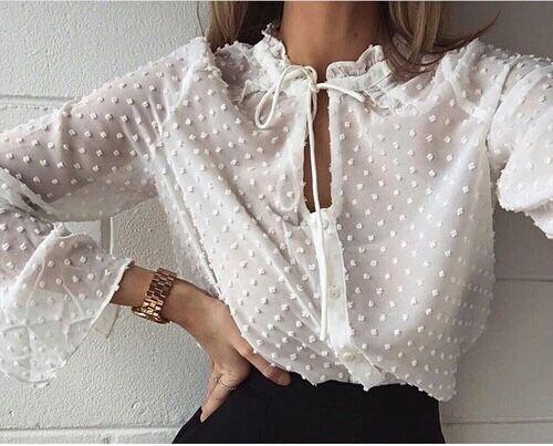 Белые блузки 2018-2019 (4)