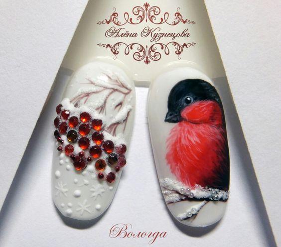 Красивый зимний дизайн ногтей 2019 (27)