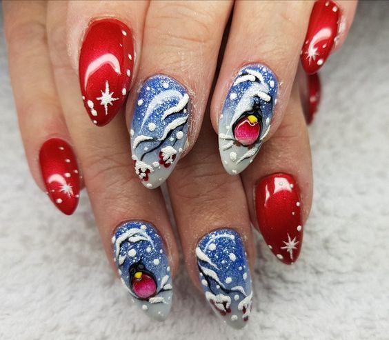 Ногти гель-лак дизайн Новый год 2019 (41)