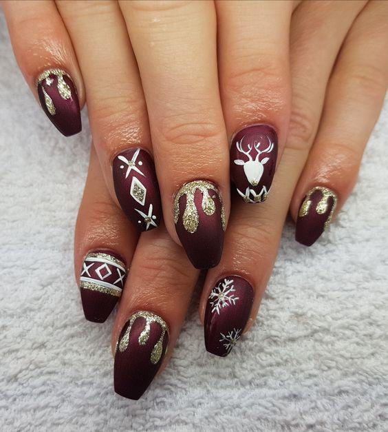 Красивый зимний дизайн ногтей 2019 (13)