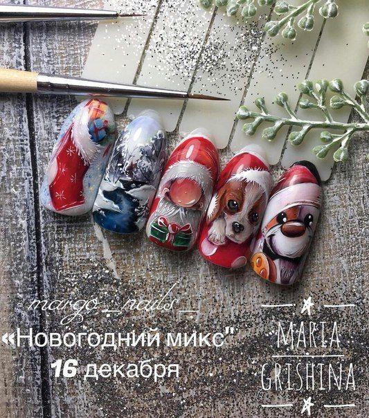 Ногти гель-лак дизайн Новый год 2019 (52)