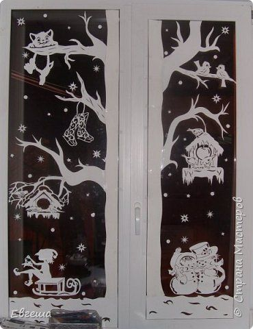 Трафареты на окна 2019 к Новому году (19)