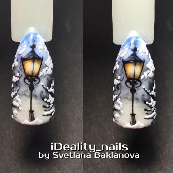 Красивый зимний дизайн ногтей 2019 (4)