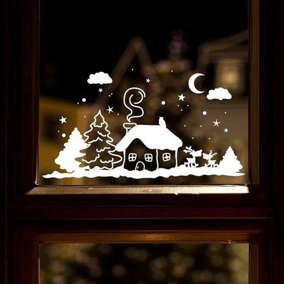 Трафареты на окна 2019 к Новому году (3)