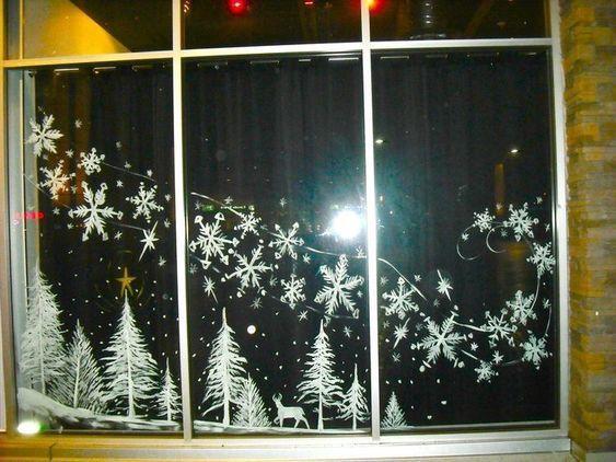 Трафареты на окна 2019 к Новому году (2)