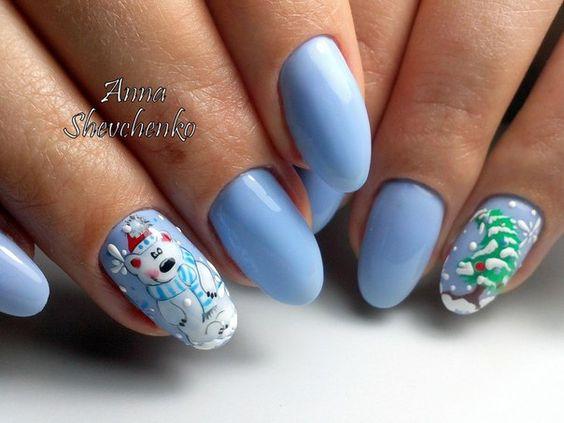 Красивый зимний дизайн ногтей 2019 (2)