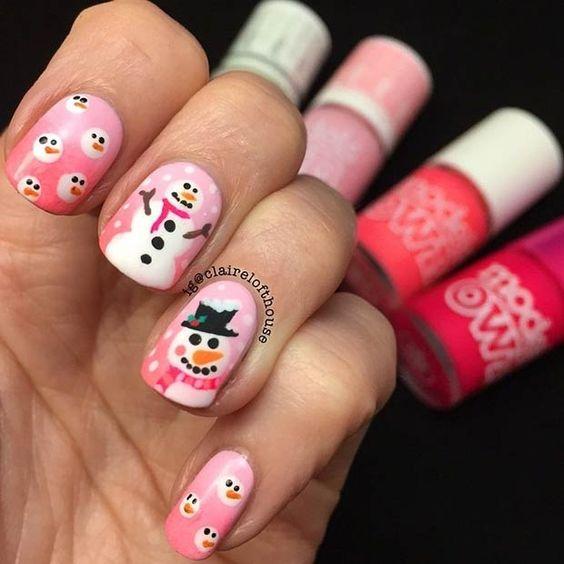 Снеговик на ногтях (12)