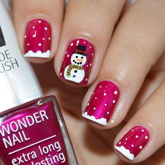 Снеговик на ногтях (7)