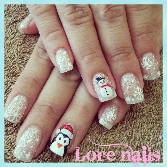 Снеговик на ногтях (8)