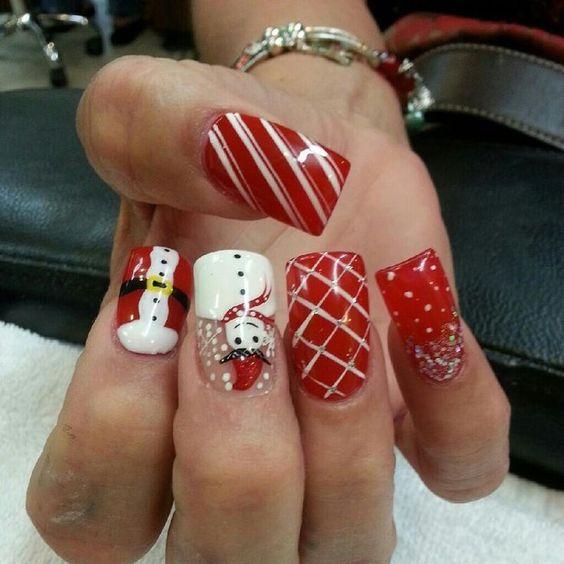 Снеговик на ногтях (11)