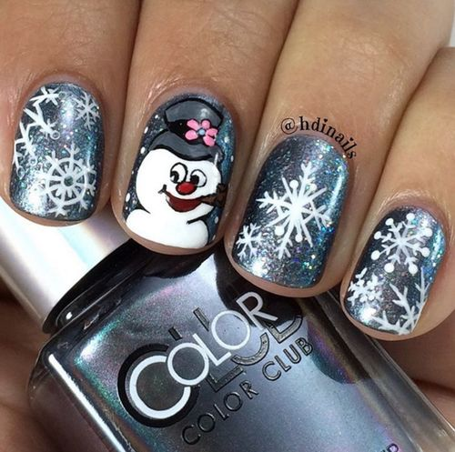 Снеговик на ногтях (10)