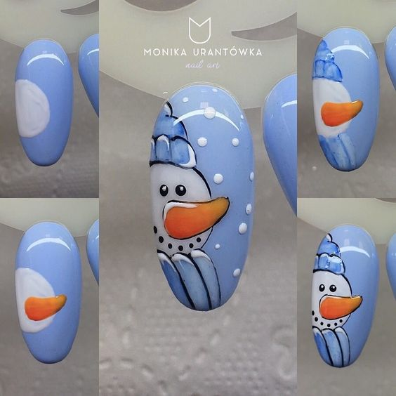 Снеговик на ногтях (28)