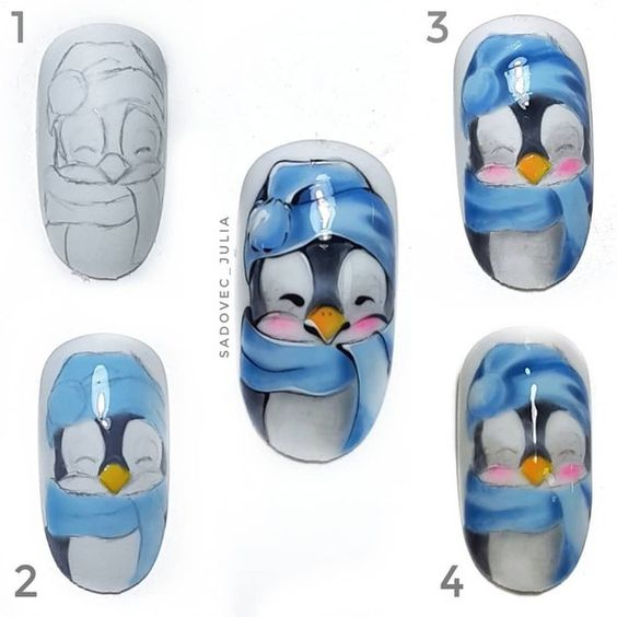 Снеговик на ногтях (25)