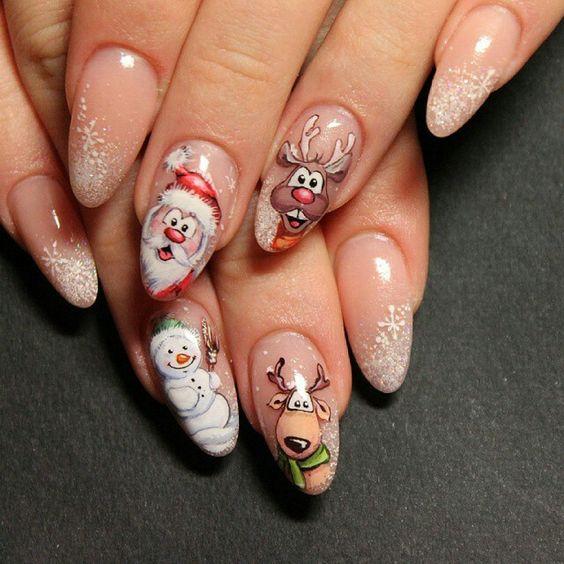 Снеговик на ногтях (22)