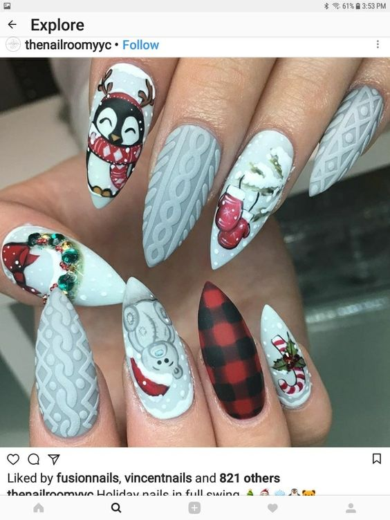 Снеговик на ногтях (21)