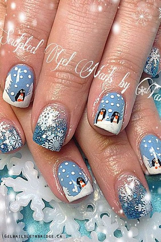 Снеговик на ногтях (19)