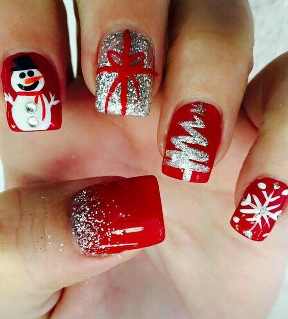 Снеговик на ногтях (20)