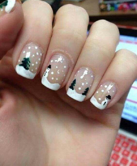 Снеговик на ногтях (6)