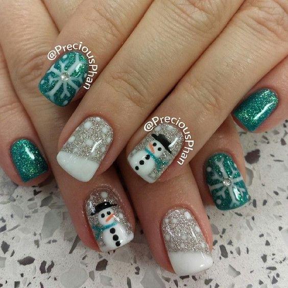 Снеговик на ногтях (4)