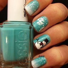 Снеговик на ногтях (3)