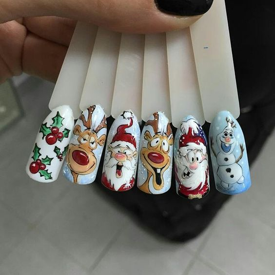 Снеговик на ногтях (14)