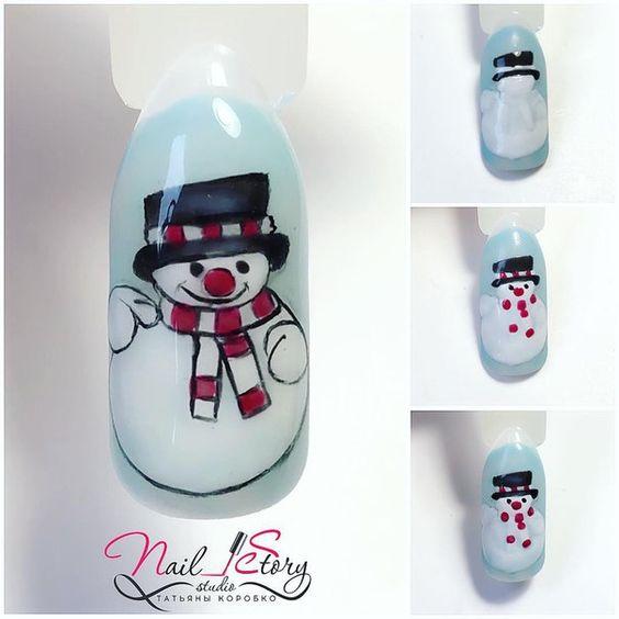 Снеговик на ногтях (15)