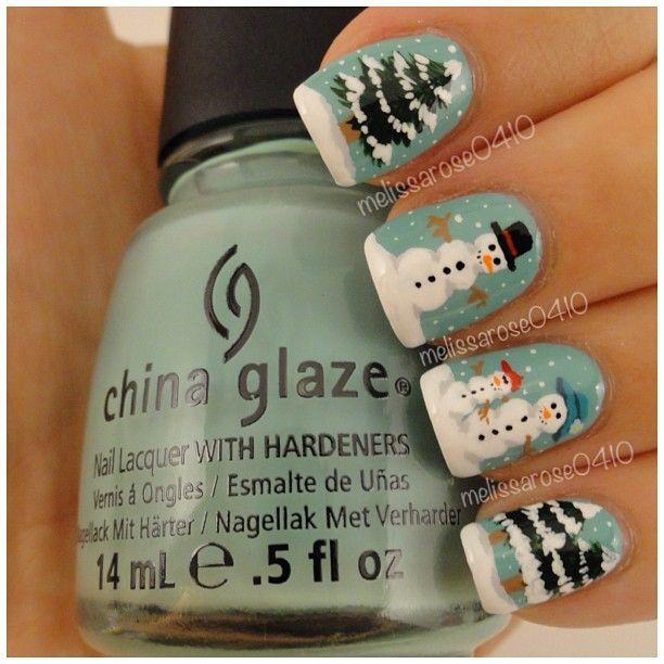 Снеговик на ногтях (1)