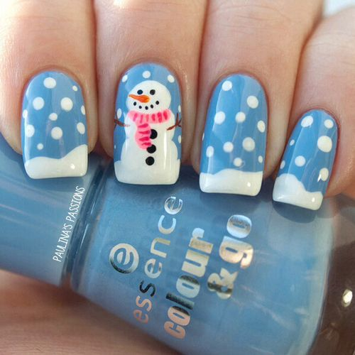 Снеговик на ногтях (30)