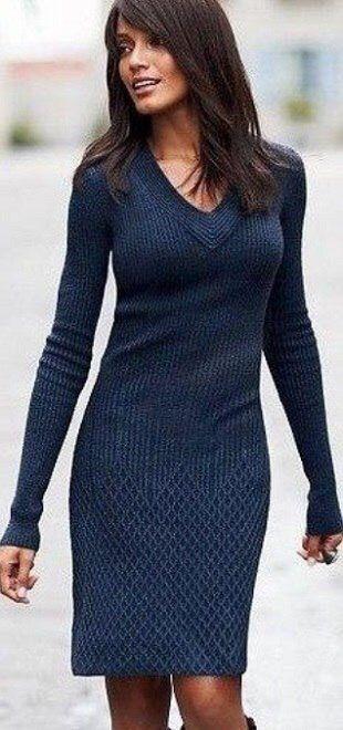 Вязаные платья 2019 (10)