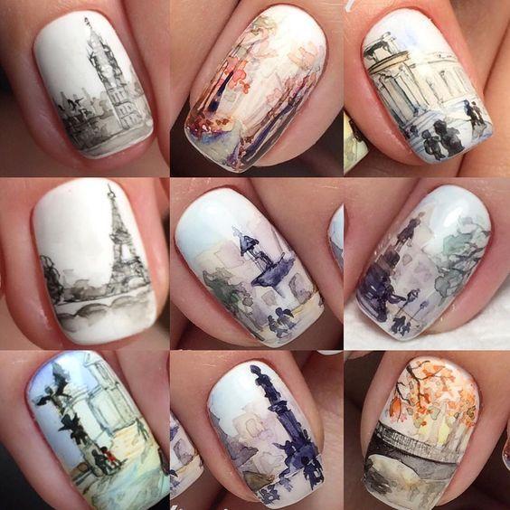 Рисунки на коротких ногтях (63)