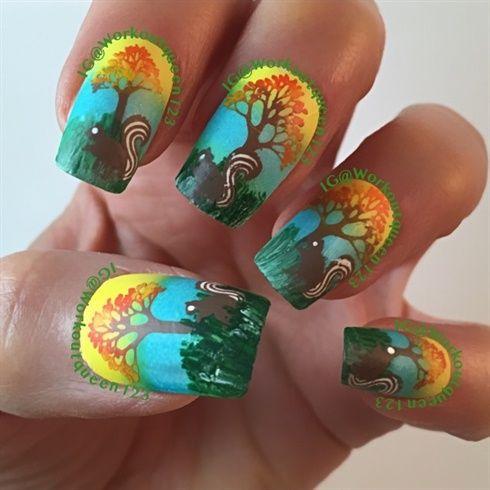 Рисунки на коротких ногтях (34)