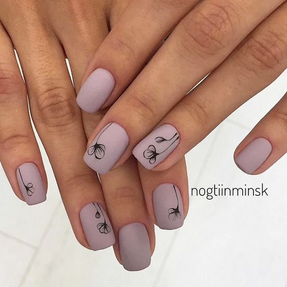 Рисунки на коротких ногтях (47)